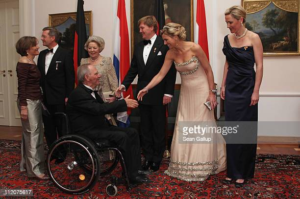 German President Christian Wulff Queen Beatrix of the Netherlands Prince WillemAlexander of the Netherlands Princess Maxima of the Netherlands and...