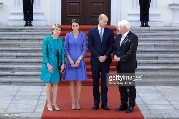 German President FrankWalter Steinmeier and First Lady Elke Buedenbender greet Catherine Duchess of Cambridge and Prince William Duke of Cambridge as...