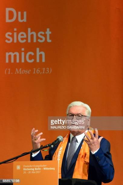 German President FrankWalter Steinmeier delivers a speech during the Protestant church day event entitled 'Can rationality still be saved' in Berlin...