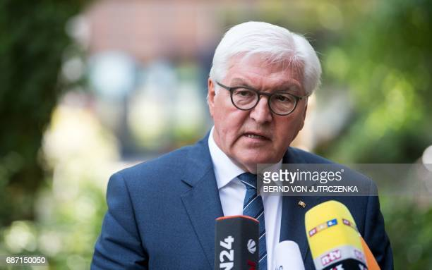 German President FrankWalter Steinmeier gives a statement on May 23 2017 in Berlin to comment on the suicide bombing at a pop concert packed with...