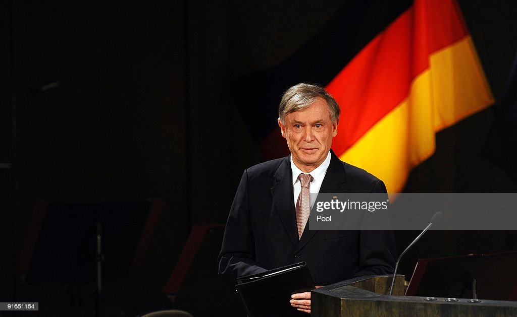 German President <a gi-track='captionPersonalityLinkClicked' href=/galleries/search?phrase=Horst+Koehler&family=editorial&specificpeople=209063 ng-click='$event.stopPropagation()'>Horst Koehler</a> holds a speech during the formal ceremony in the Gewandhaus musical hall on October 9, 2009 in Leipzig, Germany. On October 9th 1989 some 70,000 people flocked to the former East German city demanding democracy, freedom, and an end to communist oppression. The protest marked the beginning of the end for East Germany. 20 years on, the city of Leipzig has planned a 'festival of lights,' to commemorate the historic procession.