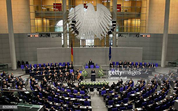 German President Horst Koehler speaks during a national memorial ceremony at the Bundestag January 20 2005 in Berlin Germany In an act of state...