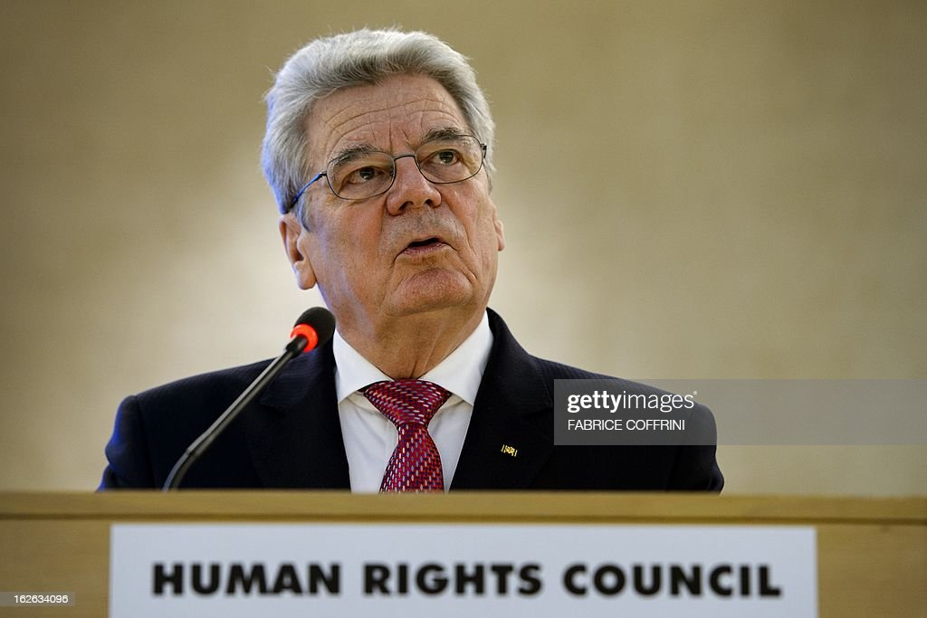 German President Joachim Gauck addresses the assembly on the opening day of the 22nd session of the United Nations Human Rights Council on February 25, 2013 in Geneva. The Council kicks off with widespread abuses in North Korea and Mali the top items on the agenda, along with the crisis in Syria. AFP PHOTO / FABRICE COFFRINI