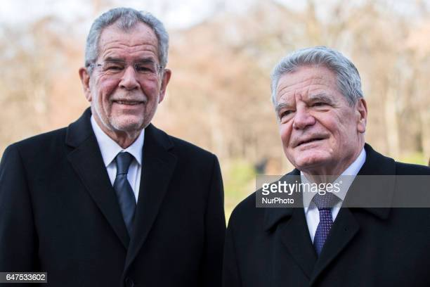 German President Joachim Gauck and Austrian President Alexander van der Bellen are pictured during a visit at the Bellevue presidential palace in...