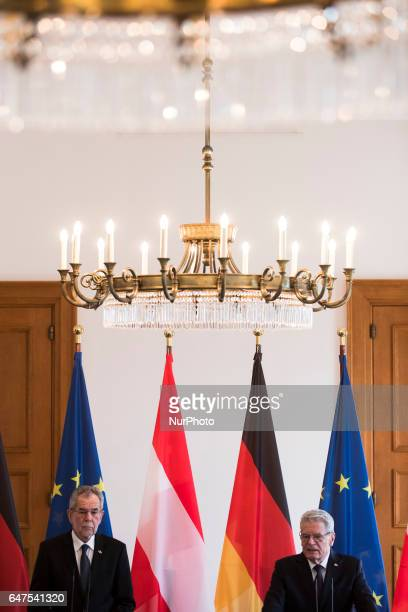German President Joachim Gauck and Austrian President Alexander van der Bellen are pictured during a joint press conference at the Bellevue...