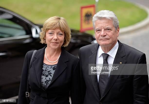 German President Joachim Gauck and his partner Daniela Schadt arrive for the funeral service for the literary critic Marcel ReichRanicki on September...