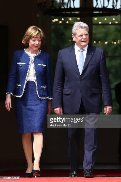 German president Joachim Gauck and his partner Daniela Schadt at Bellevue Palace on June 3 2013 in Berlin Germany