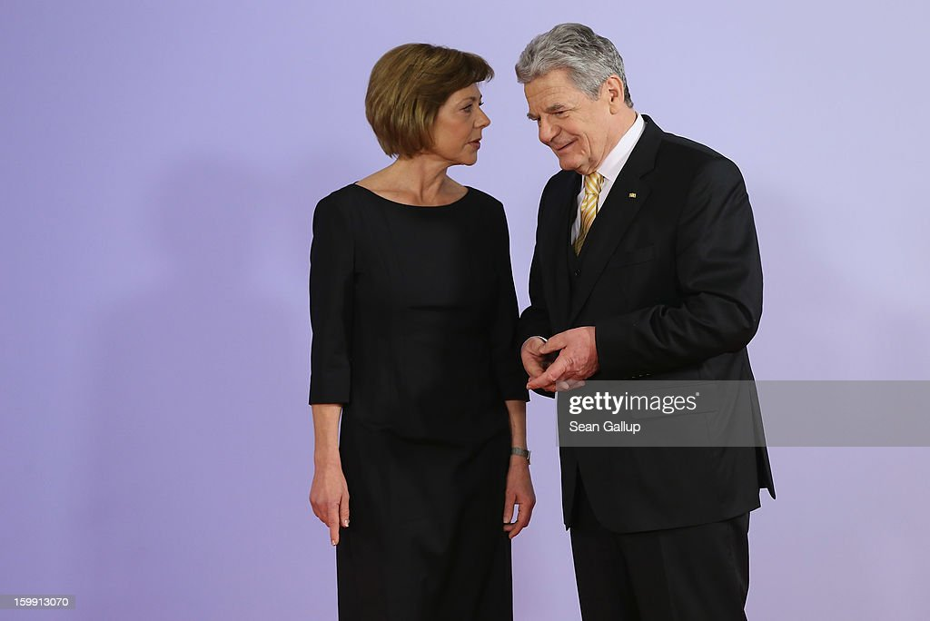 German President Joachim Gauck and his partner Daniela Schadt attend a concert at the Berlin Philharmonic during the 50th anniversary celebration of the Elysee Treaty on January 22, 2013 in Berlin, Germany. The treaty, concluded in 1963 by Charles de Gaulle and Konrad Adenauer in the Elysee Palace in Paris, set a new tone of reconciliation between France and Germany, and called for consultations between the two countries to come to a common stance on policies affecting the most important partners in Europe as well as the rest of the region. Since its establishment, the document for improved bilateral relations has been seen by many as the driving force behind European integration.