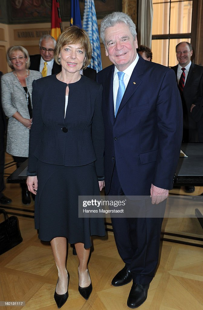 German President Joachim Gauck and his partner Daniela Schadt (L) pose during his inaugural official visit to Bavaria at the Bavarian state parliament on February 19, 2013 in Munich, Germany. Following his visit to the Bavarian State Chancellery President Gauck's schedule includes visits to the German Aerospace Center in Oberpfaffenhofen and a panel discussion with students at the university of Regensburg.