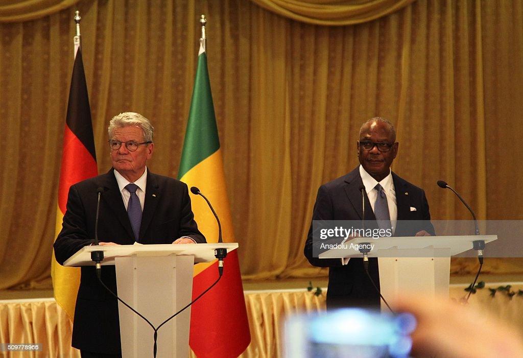 German President Joachim Gauck (L) and Malian President Ibrahim Boubacar Keita (R) hold a joint press conference at the BamakoSenou International Airport in Bamako, Mali on February 12, 2016.