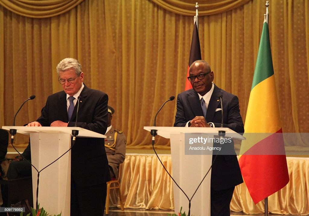 German President Joachim Gauck (L) and Malian President Ibrahim Boubacar Keita (R) hold a joint press conference at the BamakoSenou International Airport in Bamako, Mali on February 12, 2016.