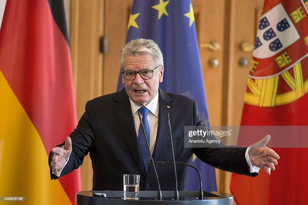 German President Joachim Gauck and Portuguese and President Marcelo Rebelo de Sousa (not seen) hold a press conference at the Schloss Bellevue Palace in Berlin, Germany on May 30, 2016.