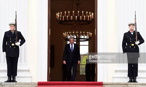 TOPSHOT German President Joachim Gauck arrives to welcome the Mexican President at the presidential Bellevue palace in Berlin on April 11 2016 / AFP...