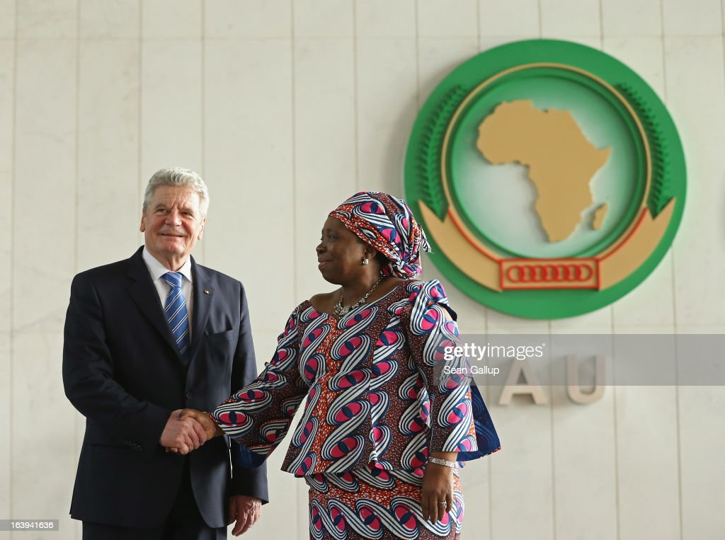 German President <a gi-track='captionPersonalityLinkClicked' href=/galleries/search?phrase=Joachim+Gauck&family=editorial&specificpeople=2077888 ng-click='$event.stopPropagation()'>Joachim Gauck</a> arrives with African Union (AU) Commission Chairwoman <a gi-track='captionPersonalityLinkClicked' href=/galleries/search?phrase=Nkosazana+Dlamini-Zuma&family=editorial&specificpeople=752696 ng-click='$event.stopPropagation()'>Nkosazana Dlamini-Zuma</a> to speak on the occasion of the upcoming 50th anniversary of the Organizaiton of African Unity, the predecessor to the AU, at the AU headquarters on the second day of his official visit on March 18, 2013 in Addis Ababa, Ethiopia. President Gauck and First Lady Daniela Schadt are in Ethiopia for a four-day state visit.