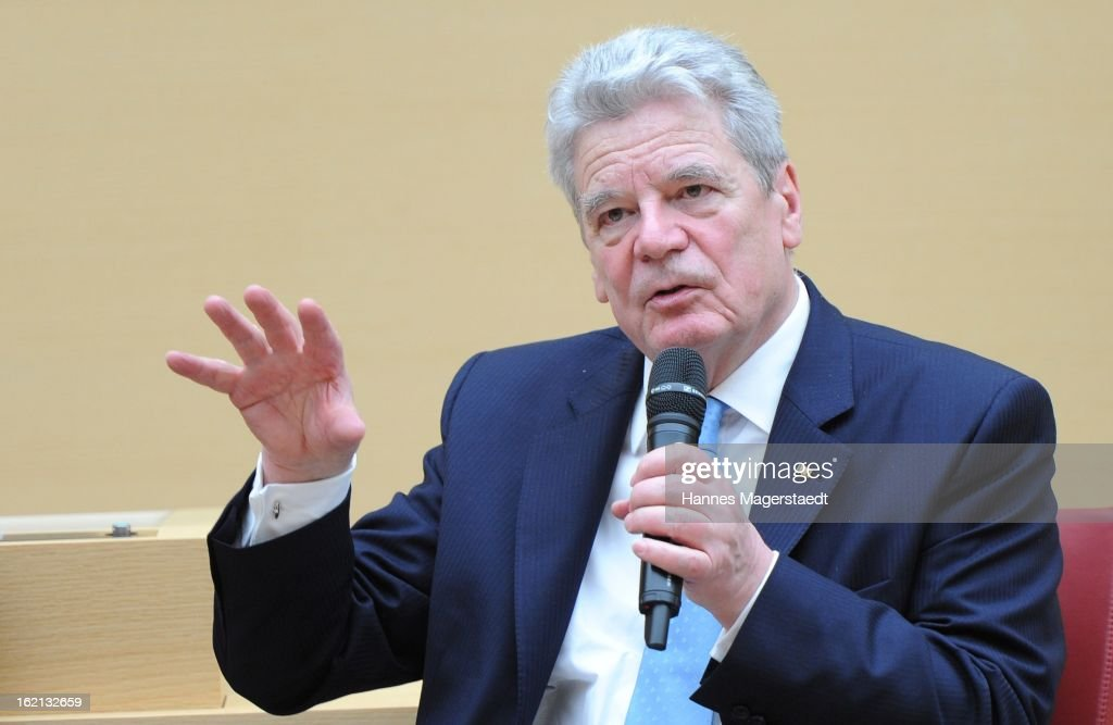 German President <a gi-track='captionPersonalityLinkClicked' href=/galleries/search?phrase=Joachim+Gauck&family=editorial&specificpeople=2077888 ng-click='$event.stopPropagation()'>Joachim Gauck</a> delivers a speech to the Bavarian state parliament during his inaugural official visit to Bavaria on February 19, 2013 in Munich, Germany. Following his visit to the Bavarian State Chancellery President Gauck's schedule includes visits to the German Aerospace Center in Oberpfaffenhofen and a panel discussion with students at the university of Regensburg.