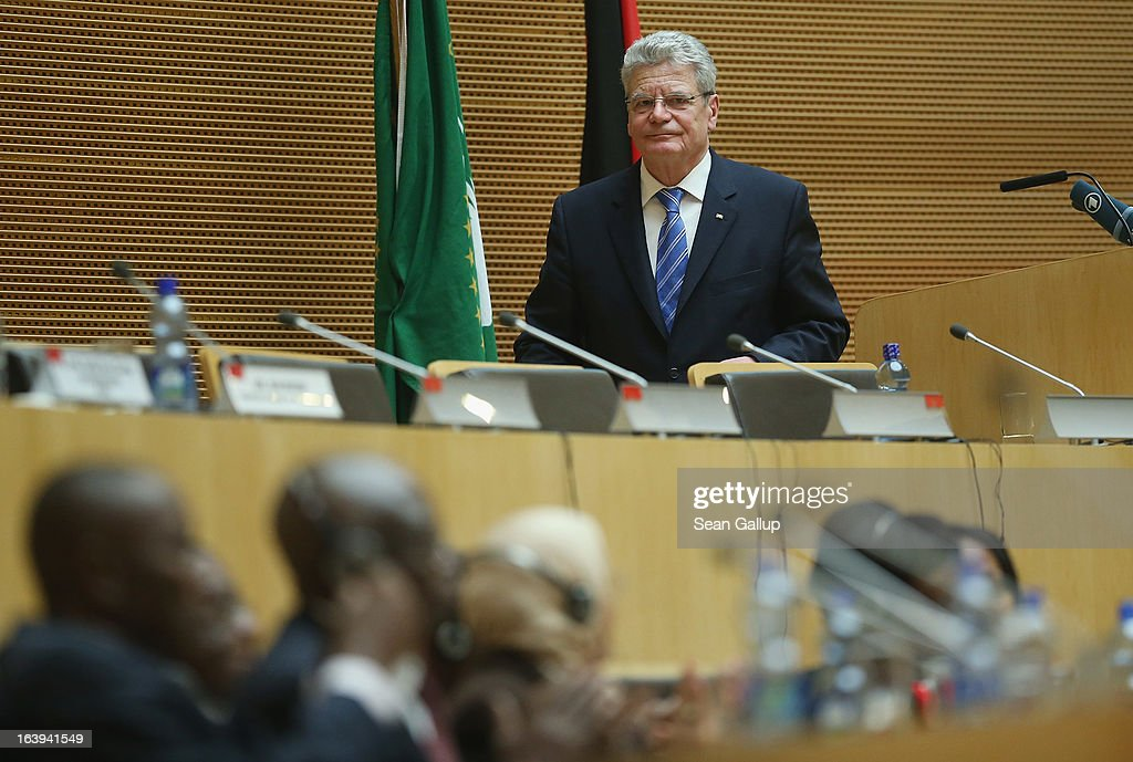 German President Joachim Gauck finishes speaking to delegates of the African Union (AU) on the occasion of the upcoming 50th anniversary of the Organization of African Unity, the predecessor to the AU, at the AU main plenary hall on the second day of his official visit on March 18, 2013 in Addis Ababa, Ethiopia. President Gauck and First Lady Daniela Schadt are in Ethiopia for a four-day state visit.