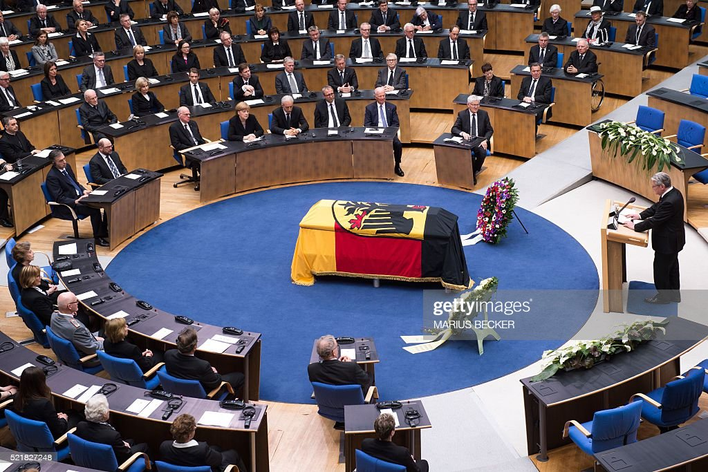 German President Joachim Gauck gives a speech during the state funeral for former German foreign Minister HansDietrich Genscher at the plenary hall...