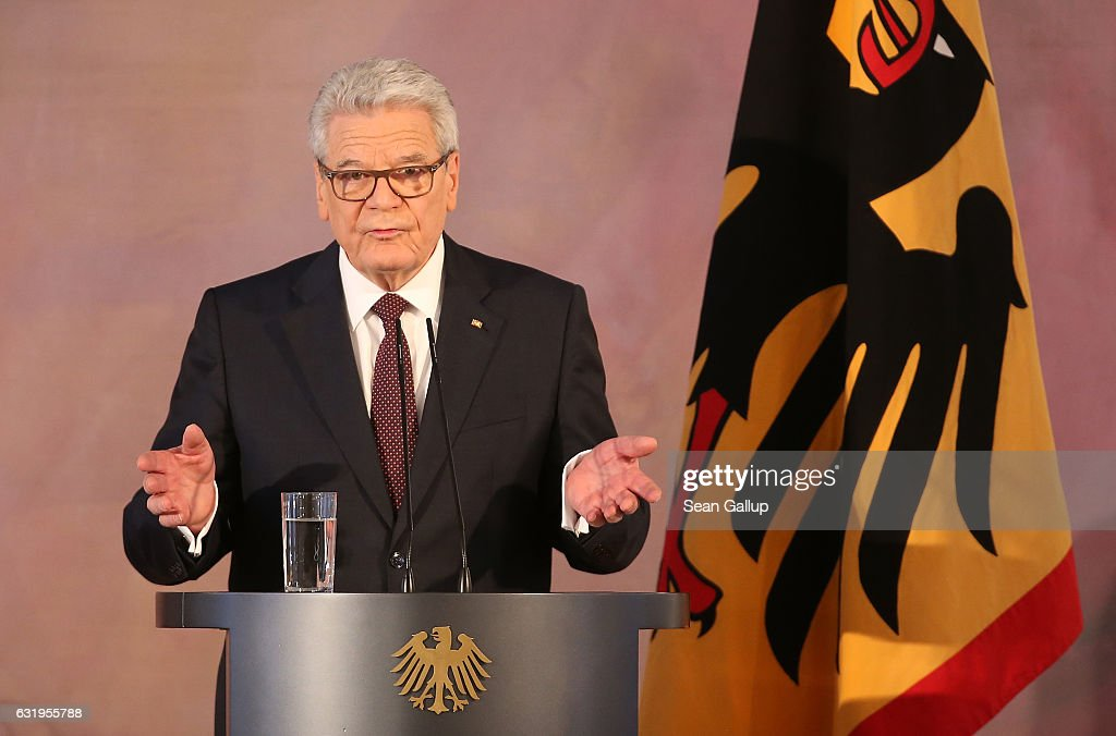 German President Joachim Gauck gives a speech to mark the end of his term as president at Schloss Bellevue palace on January 18, 2017 in Berlin, Germany. Gauck, a former pastor, chose not to serve a second term. The Federal Assembly will elect his successor on February 12.