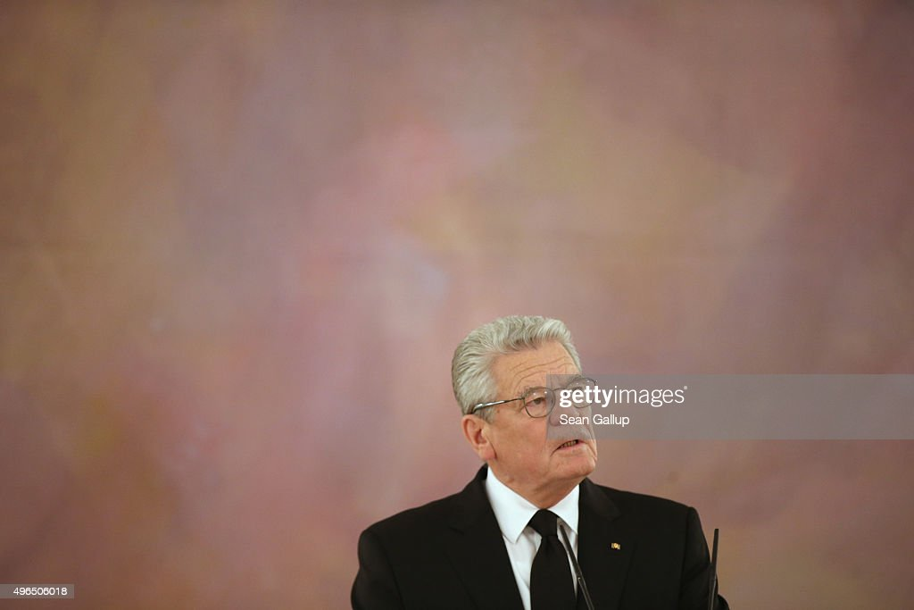German President Joachim Gauck gives a statement to the media following news earlier in the day that former German Chancellor Helmut Schmidt has died on November 10, 2015 in Berlin, Germany. Schmidt, a German Social Democrat (SPD), led West Germany as chancellor from 1974 until 1982. He died today in Hamburg at the age of 96.