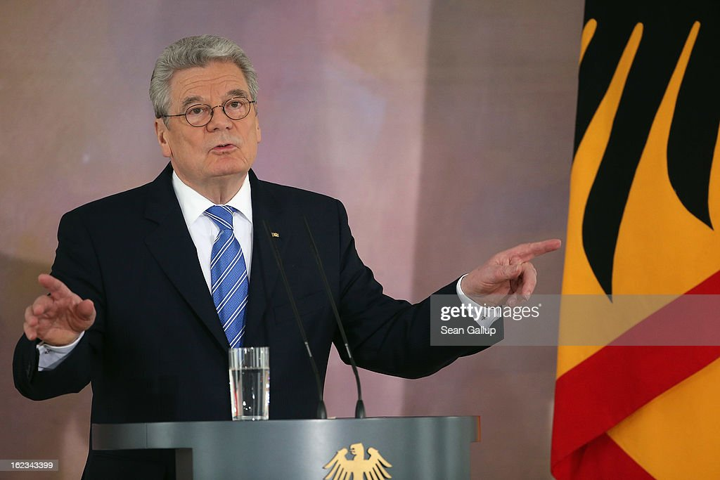 German President <a gi-track='captionPersonalityLinkClicked' href=/galleries/search?phrase=Joachim+Gauck&family=editorial&specificpeople=2077888 ng-click='$event.stopPropagation()'>Joachim Gauck</a> gives his much anticipated speech on Europe at Bellevue Palace on February 22, 2013 in Berlin, Germany. In his speech Gauck emphasized modern Europe's inherent diversity and appealed to Great Britain to remain a member of the European Union.