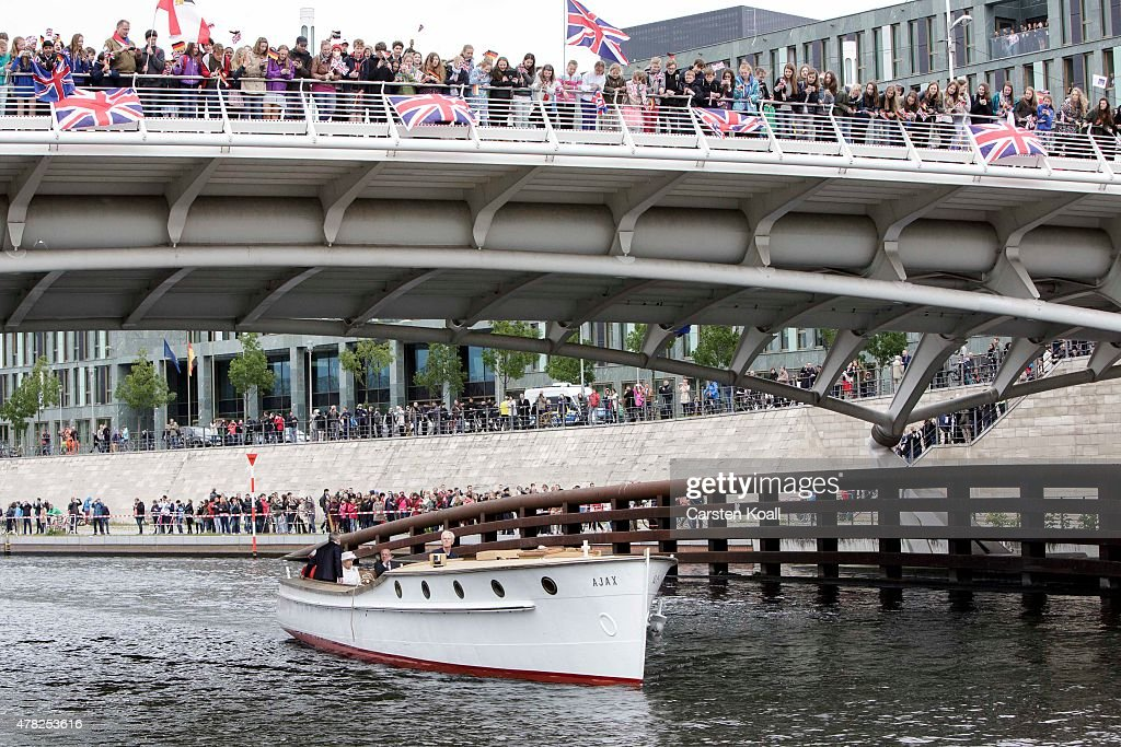 German President Joachim Gauck, his partner Daniela Schadt, Queen Elizabeth II and Prince Philip, the Duke of Edinburgh, ride a boat on the Spree River on the second of the royal couple's four-day visit to Germany on June 24, 2015 in Berlin, Germany. The Queen and Prince Philip are scheduled to visit Berlin, Frankfurt and the concentration camp memorial at Bergen-Belsen during their trip, which is their first to Germany since 2004.