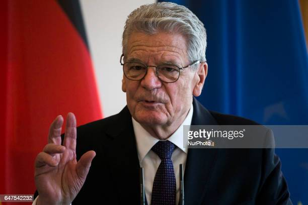 German President Joachim Gauck is pictured during a press conference held with Austrian President Alexander van der Bellen at the Bellevue...