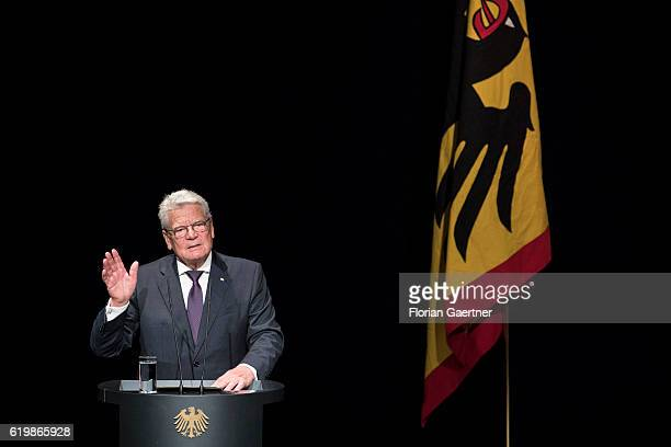 German President Joachim Gauck is pictured during a speech on November 01 2016 in Berlin Germany