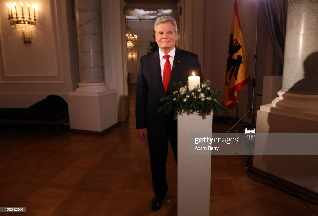 German President <a gi-track='captionPersonalityLinkClicked' href=/galleries/search?phrase=Joachim+Gauck&family=editorial&specificpeople=2077888 ng-click='$event.stopPropagation()'>Joachim Gauck</a> poses after delivering his Christmas address in Bellevue Presidential Palace on December 22, 2012 in Berlin, Germany.