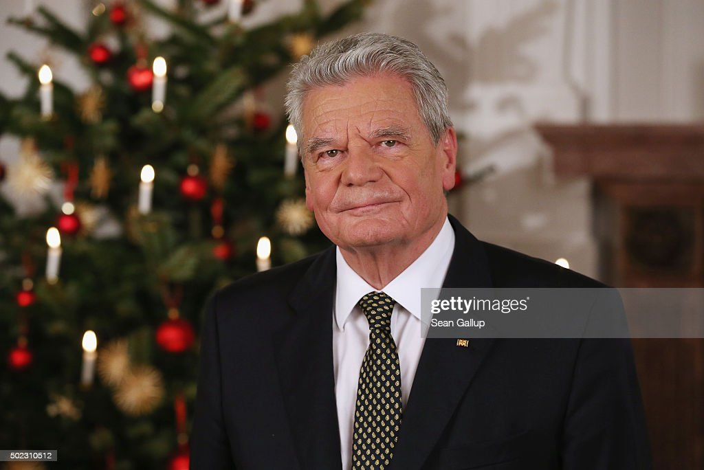 German President <a gi-track='captionPersonalityLinkClicked' href=/galleries/search?phrase=Joachim+Gauck&family=editorial&specificpeople=2077888 ng-click='$event.stopPropagation()'>Joachim Gauck</a> poses for a photo after he recorded his annual Christmas television address to the nation on December 22, 2015 in Berlin, Germany. Gauck, a former pastor, usually highlights the events and challenges of the year in his annual address broadcast on December 24th but also looks to what Germany will face in the coming year. Germany will have accepted over one million asylum applicants in 2015 and coping with their influx will likely be Germany's biggest challenge in 2016.
