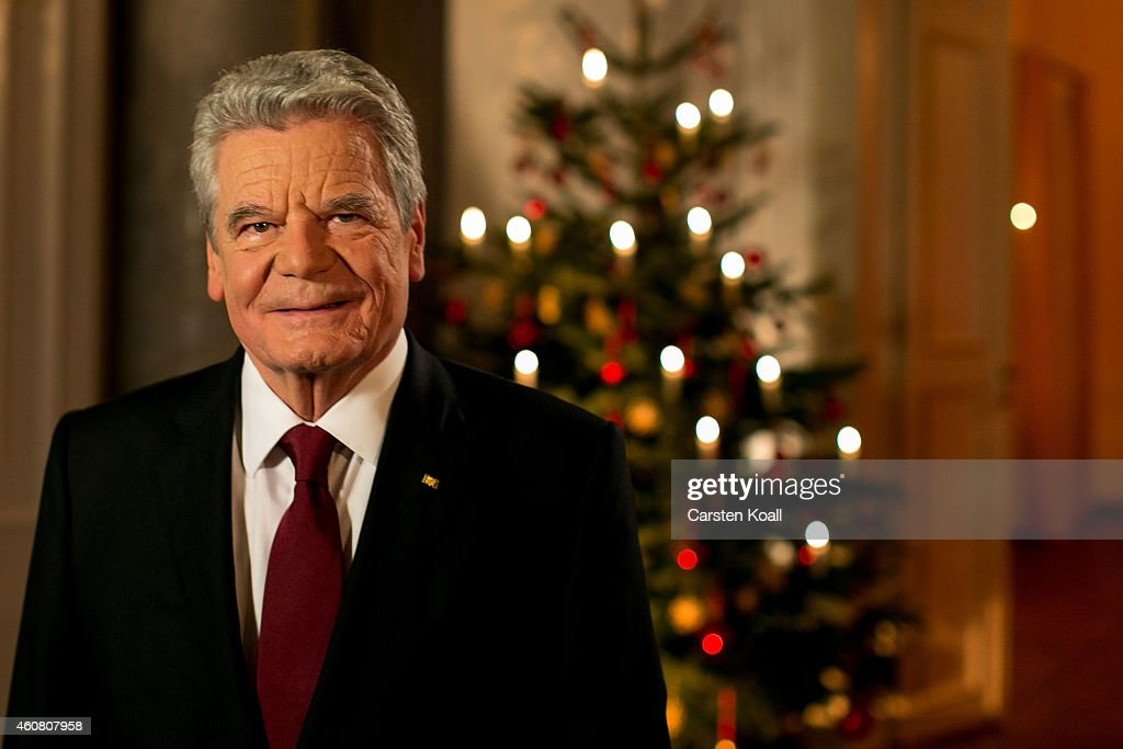German President <a gi-track='captionPersonalityLinkClicked' href=/galleries/search?phrase=Joachim+Gauck&family=editorial&specificpeople=2077888 ng-click='$event.stopPropagation()'>Joachim Gauck</a> poses for a photograph after the recording of his annual Christmas television address to the nation at Schloss Bellevue palace on December 22, 2014 in Berlin, Germany. The address will be broadcast on Christmas Day.