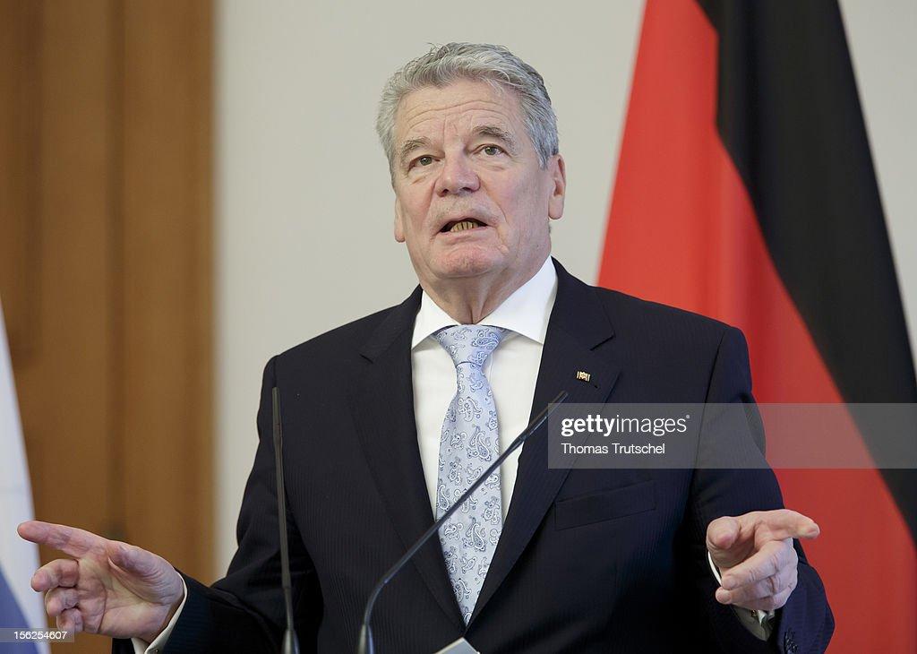 German President Joachim Gauck speak to the press on November 08, 2012.