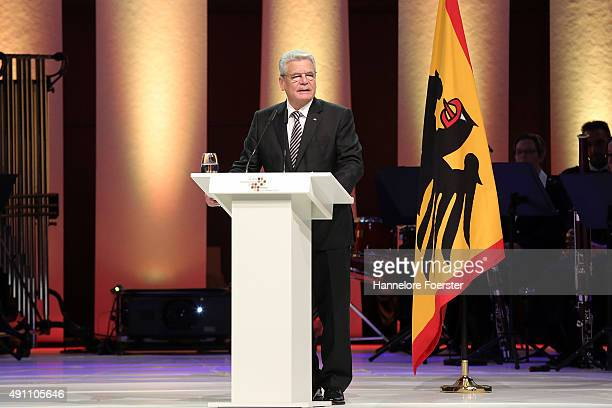 German president Joachim Gauck speaks during the events to celebrate the 25th anniversary of German reunification on October 3 2015 in Frankfurt...