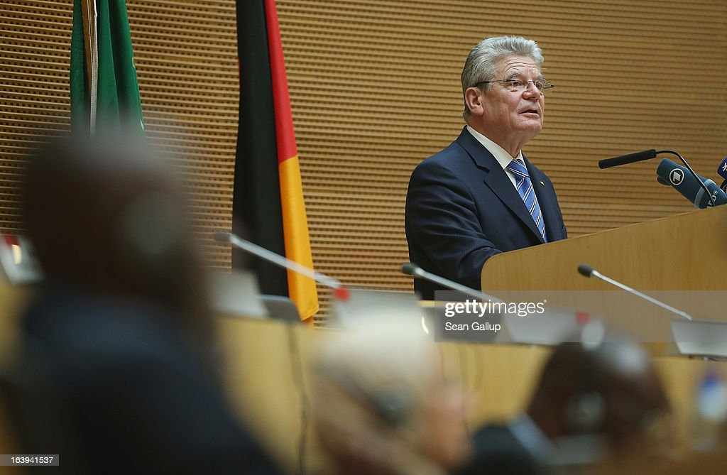 German President Joachim Gauck speaks to delegates of the African Union (AU) on the occasion of the upcoming 50th anniversary of the Organization of African Unity, the predecessor to the AU, at the AU main plenary hall on the second day of his official visit on March 18, 2013 in Addis Ababa, Ethiopia. President Gauck and First Lady Daniela Schadt are in Ethiopia for a four-day state visit.