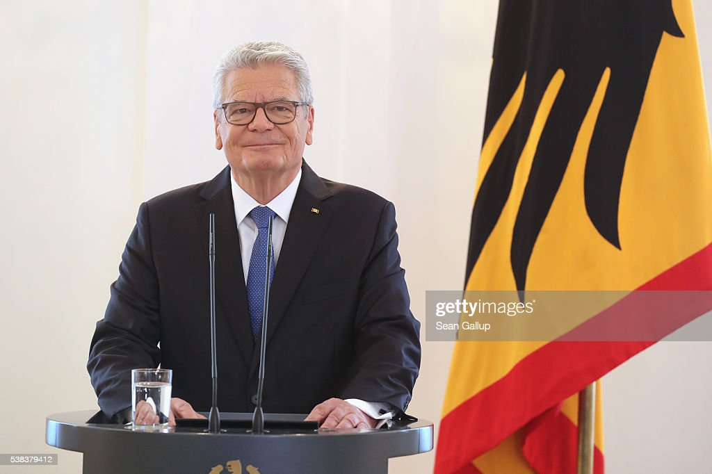 German President <a gi-track='captionPersonalityLinkClicked' href=/galleries/search?phrase=Joachim+Gauck&family=editorial&specificpeople=2077888 ng-click='$event.stopPropagation()'>Joachim Gauck</a> speaks to the media to announce he will not seek a second term on June 6, 2016 in Berlin, Germany. Gauck, a former pastor, has been a popular president and his announcement today comes to many as a surprise.