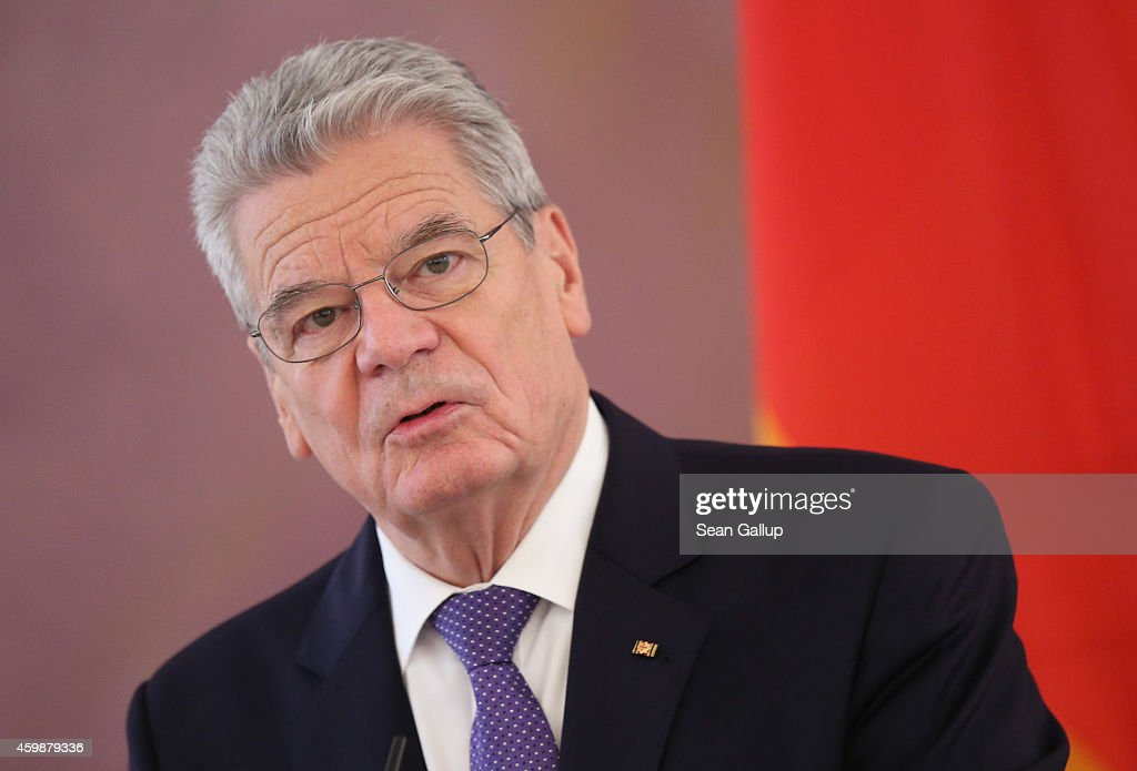 German President <a gi-track='captionPersonalityLinkClicked' href=/galleries/search?phrase=Joachim+Gauck&family=editorial&specificpeople=2077888 ng-click='$event.stopPropagation()'>Joachim Gauck</a> speaks to the media with King Felipe VI of Spain (not pictured) at Schloss Bellevue presidential palace on December 1, 2014 in Berlin, Germany. King Felipe and Queen Letizia are on their first state visit to Berlin since assuming the Spanish throne.