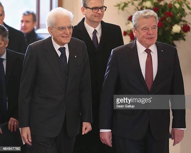 German President Joachim Gauck welcomes Italian President Sergio Mattarella upon Mattarella's arrival at Schloss Bellevue palace on March 2 2015 in...