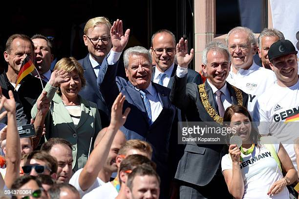German President Joachim Gauck with his wife Daniela Schadt and the Mayor of Frankfurt Peter Feldmann welcome the Athletes during the German Olympic...