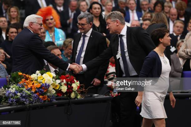 German Presidentelect FrankWalter Steinmeier receives congratulations from leading members of the rightwing populist Alternative for Germany...