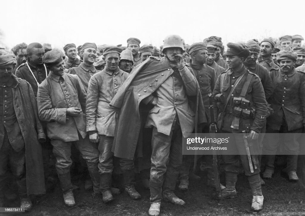 German prisoners of war captured by the Royal Fusiliers at the Battle of St. Eloi, St. Eloi, France, April 1916.