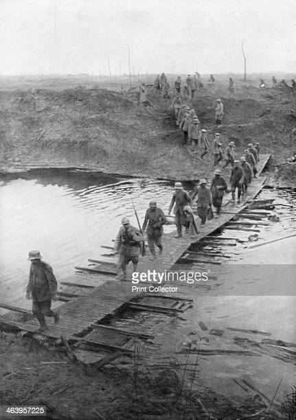 German prisoners on a duckboard track at the Yser Canal Belgium 31 July 1917 The opening day of the Third Battle of Ypres