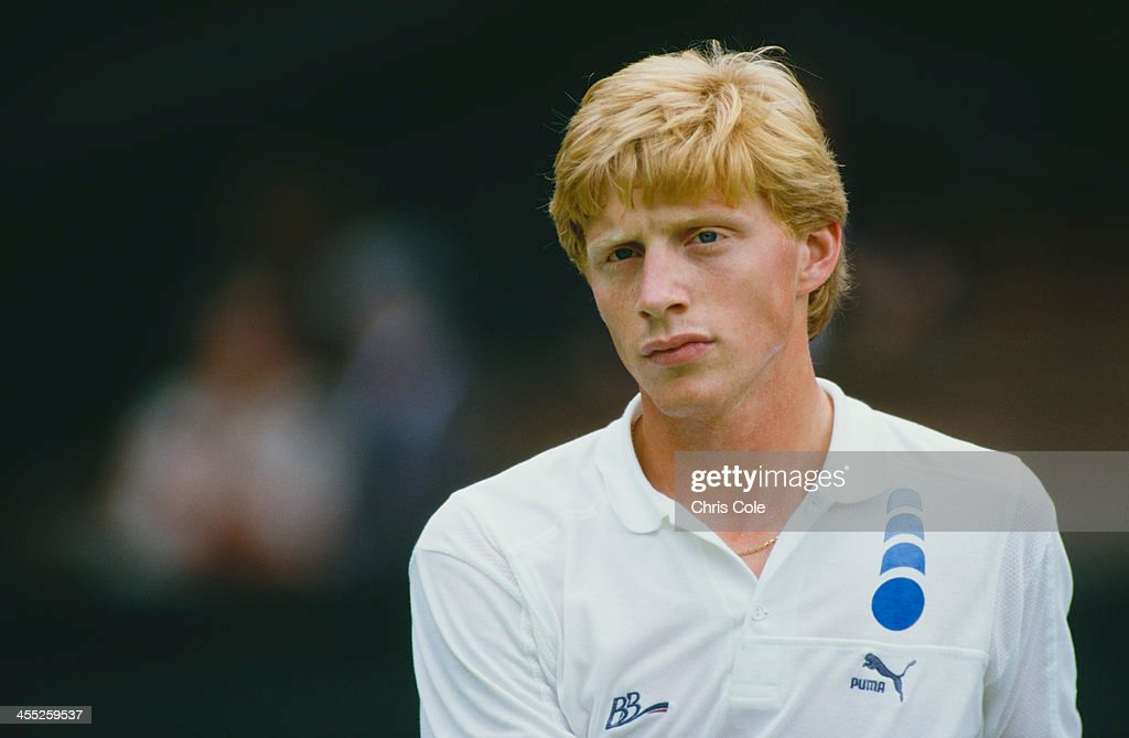 German professional tennis player <a gi-track='captionPersonalityLinkClicked' href=/galleries/search?phrase=Boris+Becker&family=editorial&specificpeople=67204 ng-click='$event.stopPropagation()'>Boris Becker</a> during a match at The Championships, Wimbledon, London, 1987.