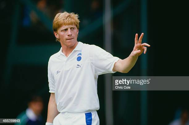 German professional tennis player Boris Becker during a match at The Championships Wimbledon London 1987