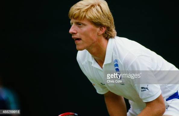 German professional tennis player Boris Becker during a match at The Championships Wimbledon London 1987