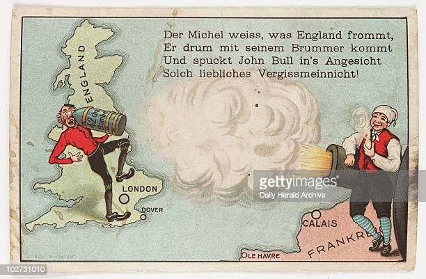 German propaganda postcard c 1916 A German smoking his meerschaum fires a shell across the Channel at John Bull The text takes the form of a comic...