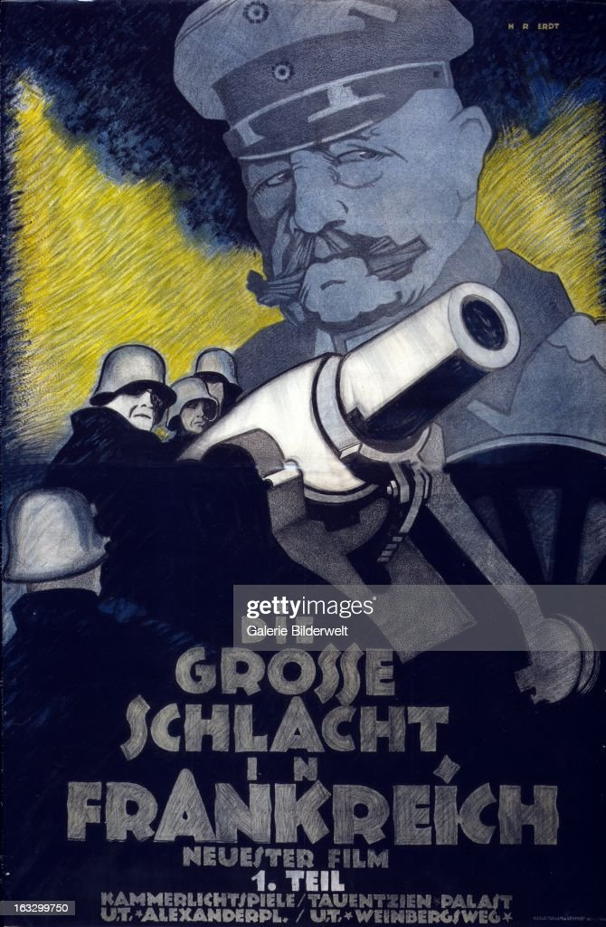 German propaganda poster showing a German soldiers around a cannon In the background looms an image of General Paul von Hindenburg Text advertises...