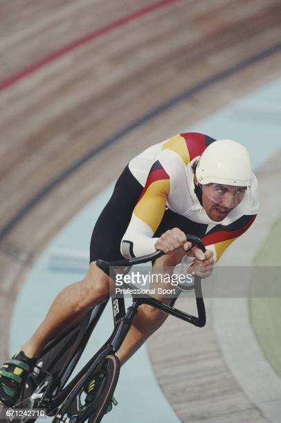 German racing cyclist Jens Lehmann pictured in action for the Germany team during competition to finish in second place to win the silver medal in...