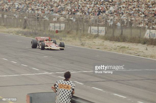 German racing driver Jochen Rindt wins the Dutch Grand Prix at Circuit Zandvoort in the Netherlands in his Lotus 72 21st June 1970