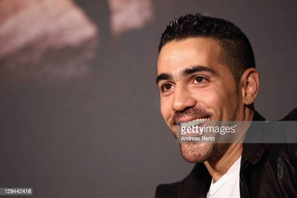 German rapper Bushido attends a press conference to present with Sido their first joint music project '23' on October 17 2011 in Berlin Germany