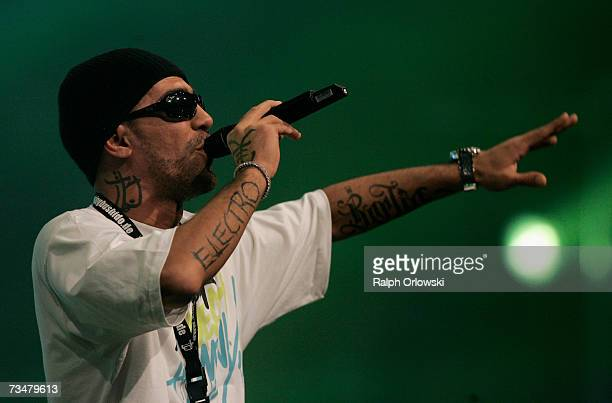 German rapper Bushido performs on stage during 'The Dome 41' music show at the SAP Arena March 2 2007 in Mannheim Germany
