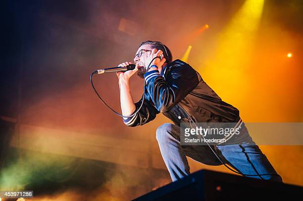 German rapper Prinz Pi performs live on stage during a concert at Zitadelle Spandau on August 22 2014 in Berlin Germany
